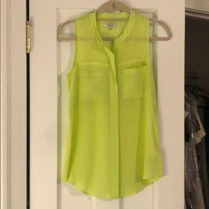 Bright yellow madewell sleeveless silk blouse, S